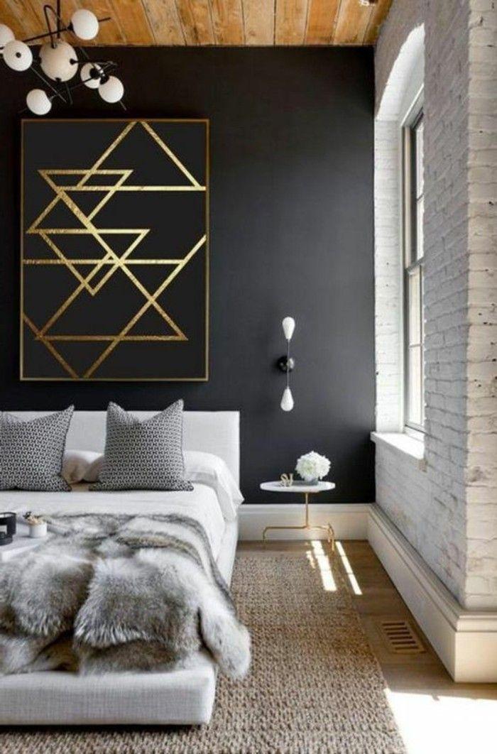 chambre à coucher design noir et gris, tapis beige, lustre ...