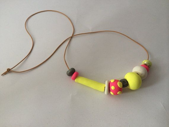 Polymer clay necklace with mixed beads by BillyandElizabeth, $15.00