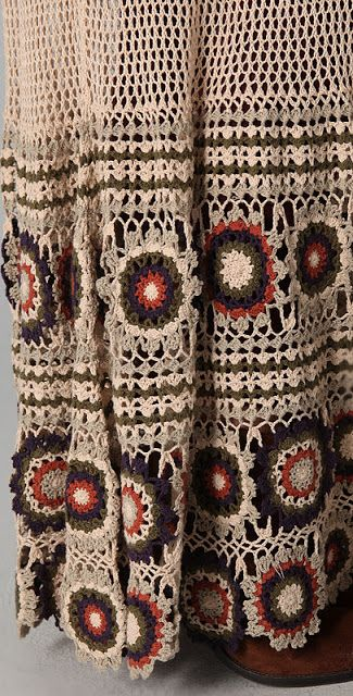 A close up of the Bohemian skirt with the granny squares at the button.  Super kool.  Can you see this in other color variations?  Yes! Yes! Yes!  :)