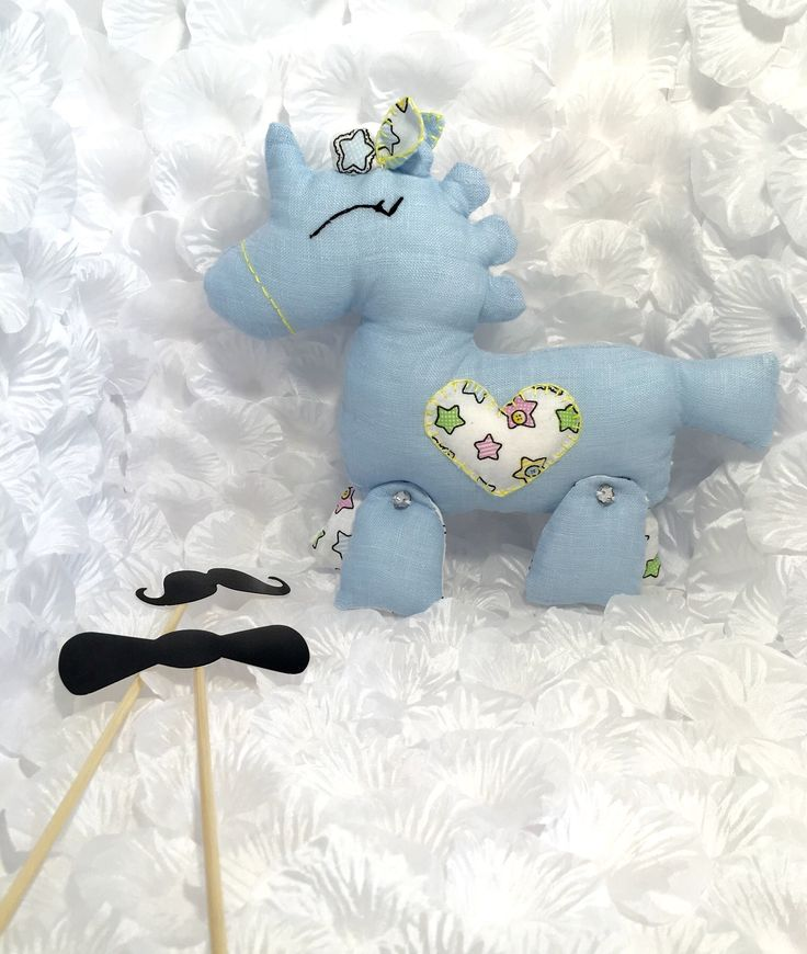 Blue linen unicorn Toy with crystals and cotton heart detail