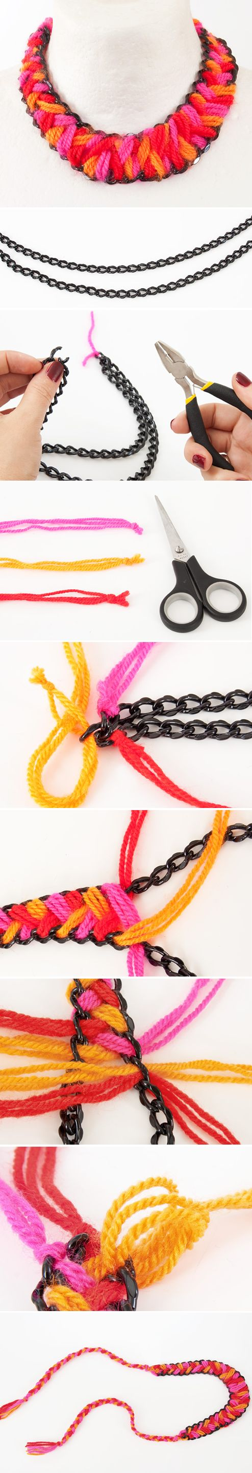 Collar brazalete lana color DIY Tutorial facil moderno alegre Wool Necklace Tutorial - or a bracelet