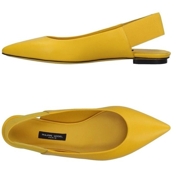 Philippe Model Ballet Flats (3.983.115 IDR) ❤ liked on Polyvore featuring shoes, flats, yellow, ballet flat shoes, leather shoes, yellow flat shoes, ballerina shoes and leather ballet shoes