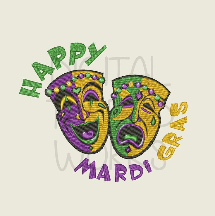 Happy Mardi Gras Comedy Tragedy Theater Masks Embroidery Design. Instant Download for 5x7 and 6x10 inch hoops. ITEM# HMGCTM01 by DigitalThreadWorks on Etsy