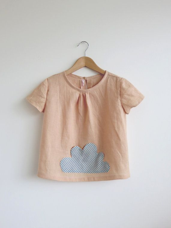 girls top with cloud pocket by SwallowsReturn on etsy