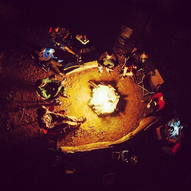 patagonia:  Gathering by the campfire after a day of climbing in Indian Creek, Utah.  Photo by @garrettgrove #funhogging