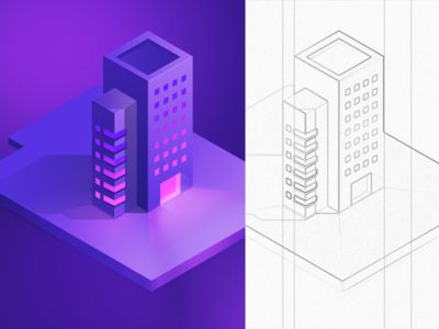 Daily challenge illustration 3/100 ( isometric building ) / Walid Beno