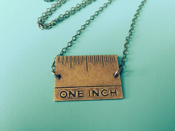 One Inch Ruler Necklace in Vintage Brass - Perfect for Hair Stylists and Sewing on Etsy, $18.00
