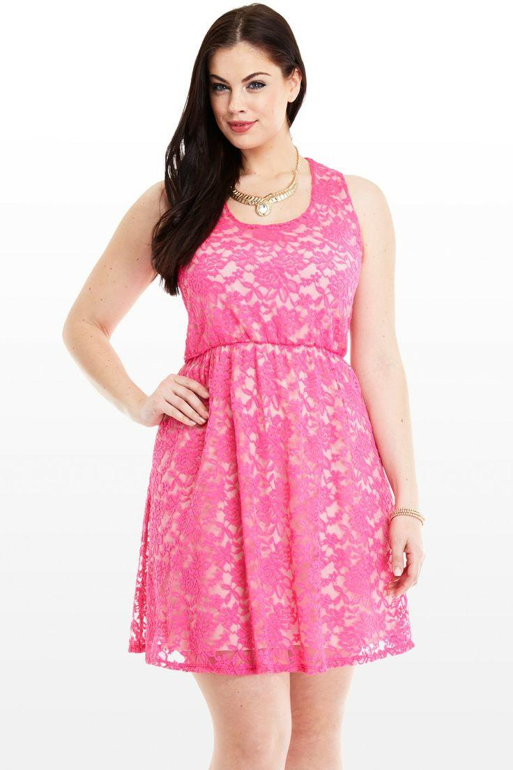 pink lace plus size dress images