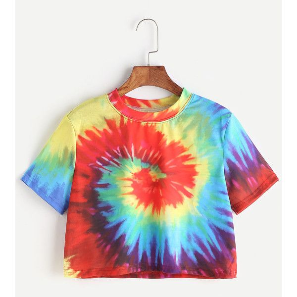SheIn(sheinside) Spiral Tie Dye Print Crop T-shirt ($9) ❤ liked on Polyvore featuring tops, t-shirts, multi, tie dye t shirts, tie dye crop top, tye dye t shirts, crop tee and short sleeve crop top