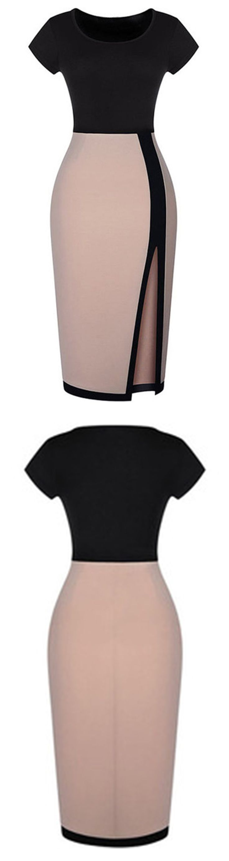 This bodycon dress can be a evening dress ,party dress  & even a work dress .♥♥♥♥♥We love the color block for the top and down for a chic look . All it needs to complete the look are your trusty killer heels and a tone of statement bracelets.