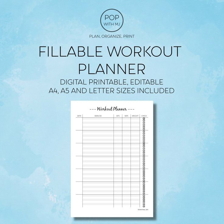 Excited to share the latest addition to my #etsy shop: Fillable Workout Planner,…