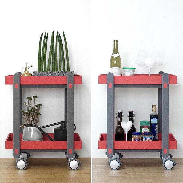 #Design studio #dialoguemethod designed a multifunctional #cart for @munito_official from #ecofriendly board. The Sweet #Trolley Table is the kind of piece that could work in most any space, like the kitchen, dining room, living room, or bedroom, or workshop. The top can be removed to be used as a tray or kept on for a double decker cart.