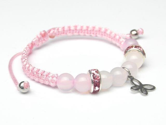 różowa ransoletka pleciona, kamienie biały i różowy agat, cyrkonie, zawieszka motylek, stal szlachetna antyalergiczna  rozmiar regulowany od 13 cm