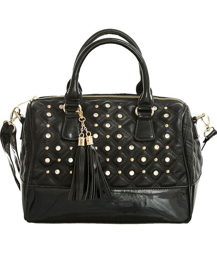 "Purse Boutique: Black ""Glossy Trim"" Structured Crossbody Satchel Handbag with Bling, Purses"