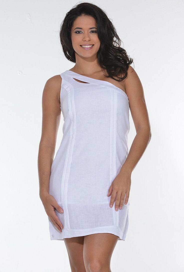 One shoulder Sexy #guayabera Dress | ideal para esas ocasiones donde hay que usar elementos #típicos y no tienes que #empollerarte, solo agregarle unas #joyas de la #pollerapanameña y #tembleques #tipicourbano