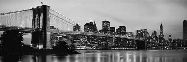 design your wall _ Brooklyn Bridge across the East River at dusk, Manhattan, New York City, New York State, USA