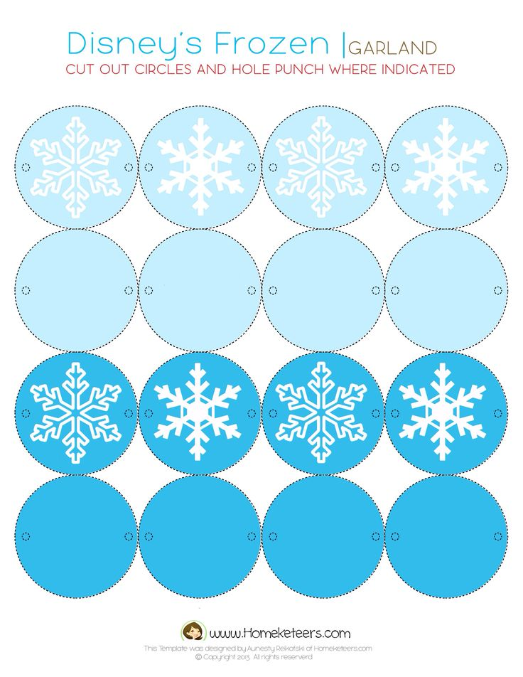 Disney Frozen free printable garland! - Better done with Silhouette. Cut and glue :-) X