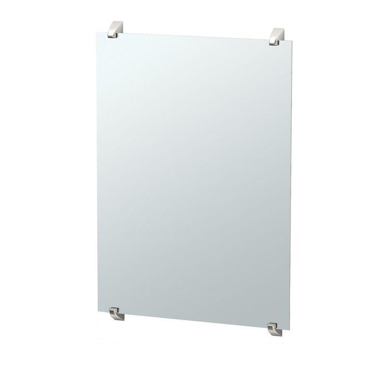 Gatco Quantra 32.25 in. x 22 in. Minimalist Frameless Mirror in Satin Nickel
