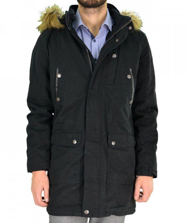Ανδρικό μπουφάν παρκά Inox μαύρο μακρύ 16538Q #χειμωνιατικαμπουφαναντρικα #εκπτωσεις #προσφορες #menjacket