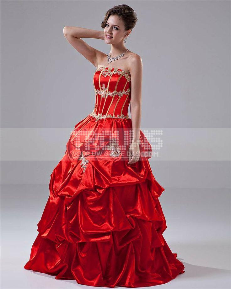 http://www.trouws.com/feestjurken-c4 baljurk strapless vloer lengte kralen borduren taft gala / Quinceanera jurk - €138.95 , Trouws.com