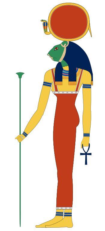 Sekhmet est une déesse de la mythologie égyptienne, représentée par une femme à tête de lionne coiffée du disque solaire sur lequel se dresse un uræus, le cobra protecteur associé à la déesse Ouadjet. De sa bouche de lionne sortent les vents du désert. Divinité guerrière personnifiant la puissance destructrice du soleil, elle est l'instrument de la vengeance de Rê, mais aussi la déesse de la guérison et du foyer, sous sa forme de chatte, Bastet - Dessin vectoriel de Jeff Dahl.