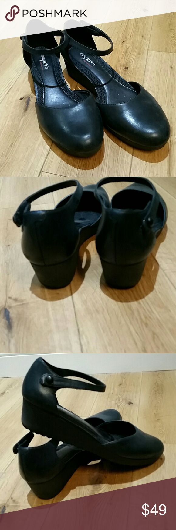 """Easy spirit anti gravity black shoes Easy spirit anti gravity black low wedge shoe. Velcro button around the ankle. About 1 1/2 """" heel. I only wore them around the house. Easy Spirit Shoes Wedges"""