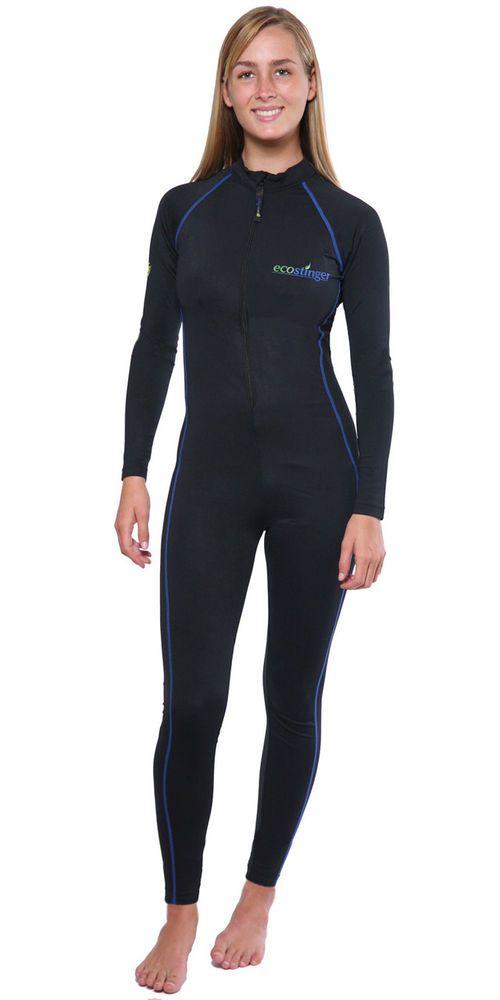 FULL BODYSUIT BATHING SWIMWEAR UV PROTECTED UPF50+ BLACK ROYAL STITCH FOR WOMEN #ECOSTINGER #Swimdress