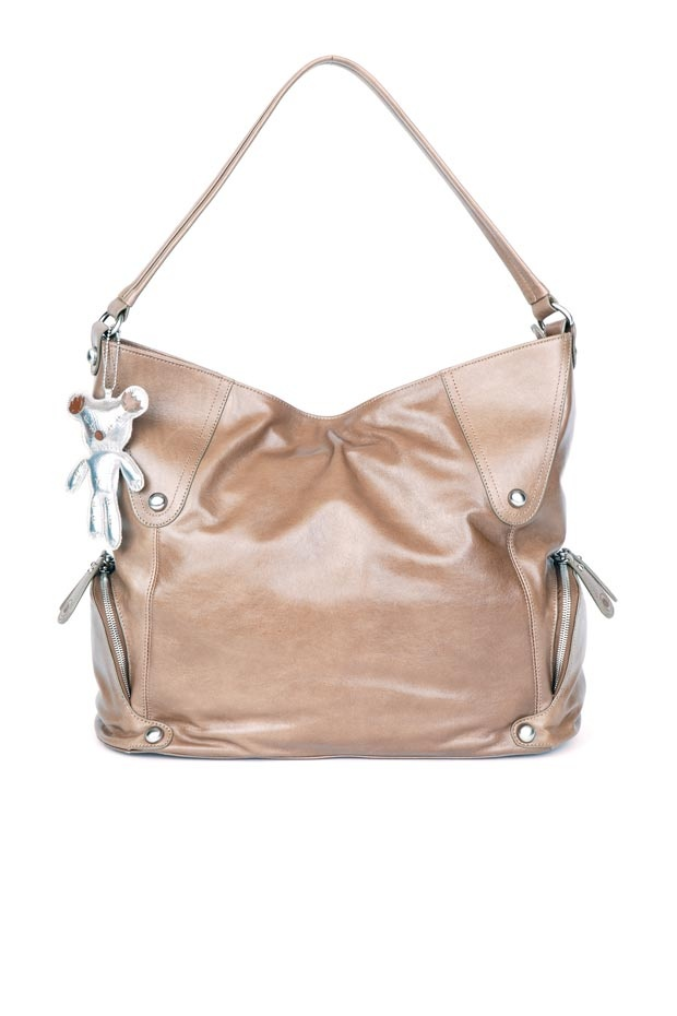 Il Tutto Georgia Hobo Leather Taupe Diaper Bag
