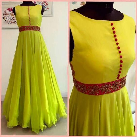 Georgette Indowestern Prom dress with embroidery on the belt. Can be done in any color combination. Note: Measurements and color will be requested by email afte