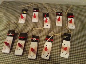 Snowman ornament made from paint stirring sticks!  Could also use tongue depressor.