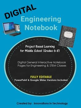 These fully editable, general Engineering Notebook pages allow students to keep their notebooks on the computer using either Microsoft PowerPoint or Google Slides. Teachers digitally send students the page(s) they need for the lesson via Google Drive (or