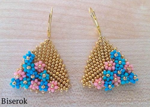 summer earrings - flowers embellishing triangles. (translate)  #Seed #Bead #Tutorials