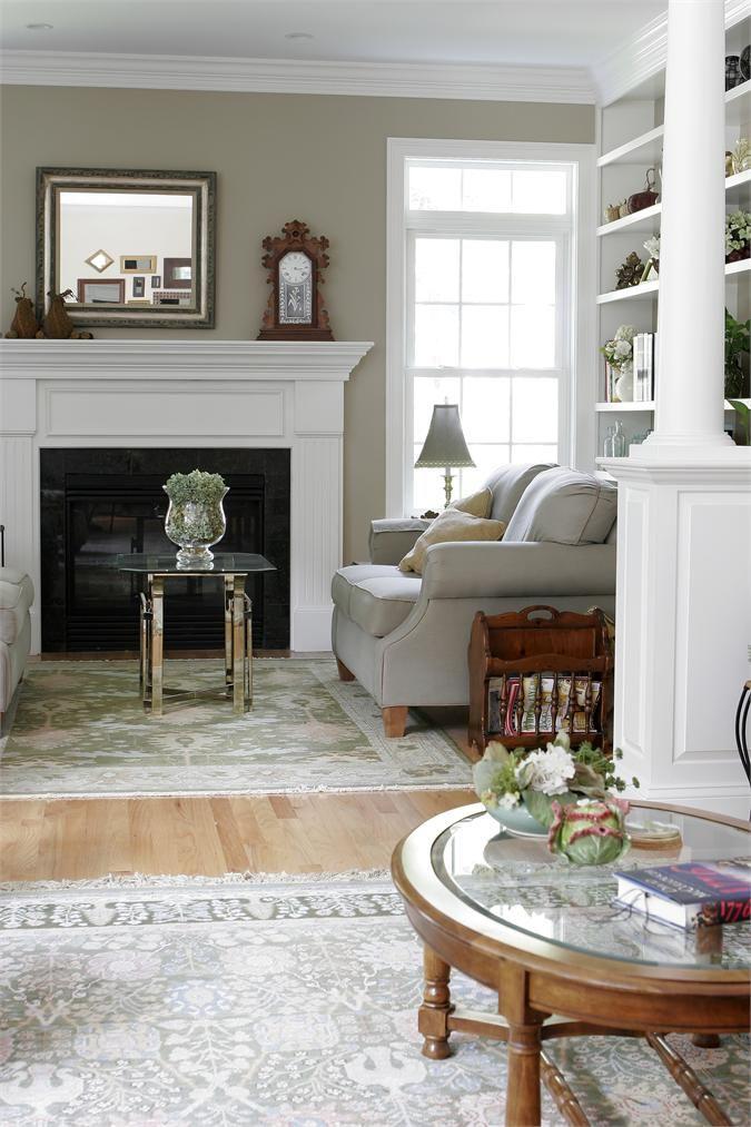 Ok Column Fireplace Bookcase Crown Molding Sage Green