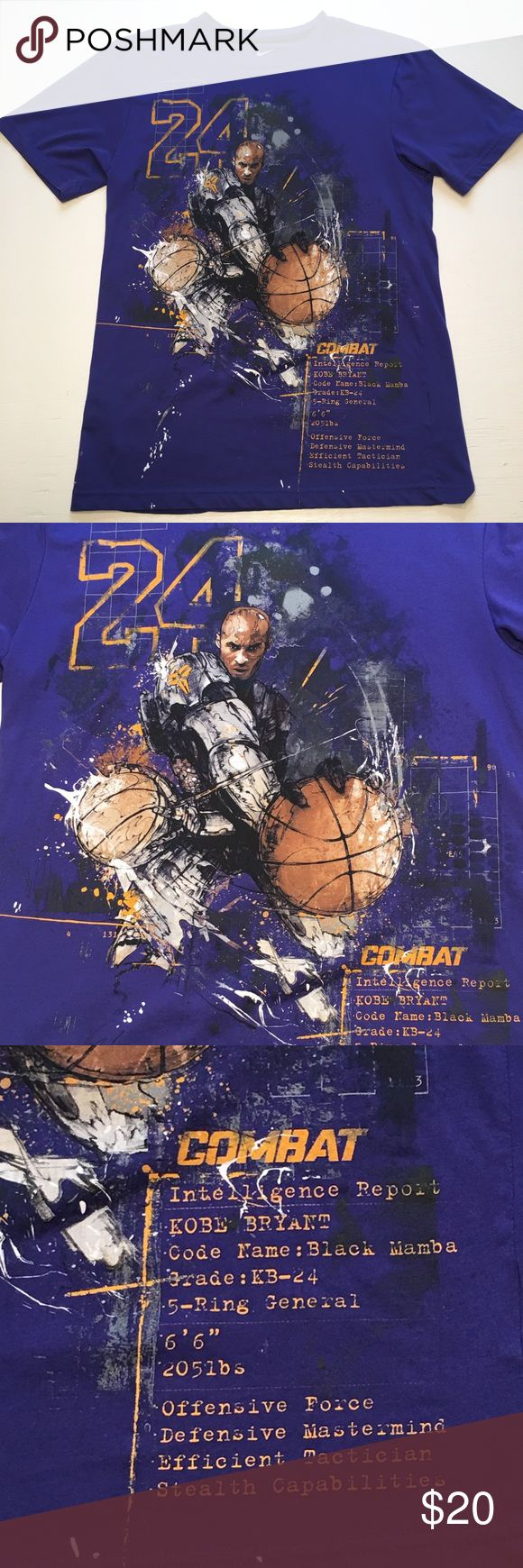 Nike Kobe Bryant Black Mamba Dri-fit Purple Tee NWOT Bought it for my son but he never worn it! Nike Dri-fit super soft material. Kobe Bryant Black Mamba collection. Kobe graphic on front & Black Mamba logo on center back. FLAW-there is a tiny hole on back of collar where the price tag was. Other than that it's in great condition. Size adult S  *No trades or try on's. *Smoke free home.  Please feel free to ask me any ?s & be sure to bundle all your likes for an AH-mazing deal!!! F137 Nike…