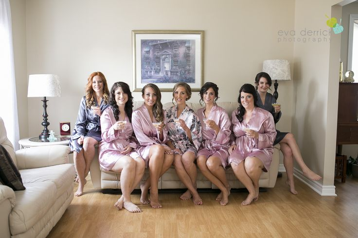 Bridal party getting ready - robes in wedding colours