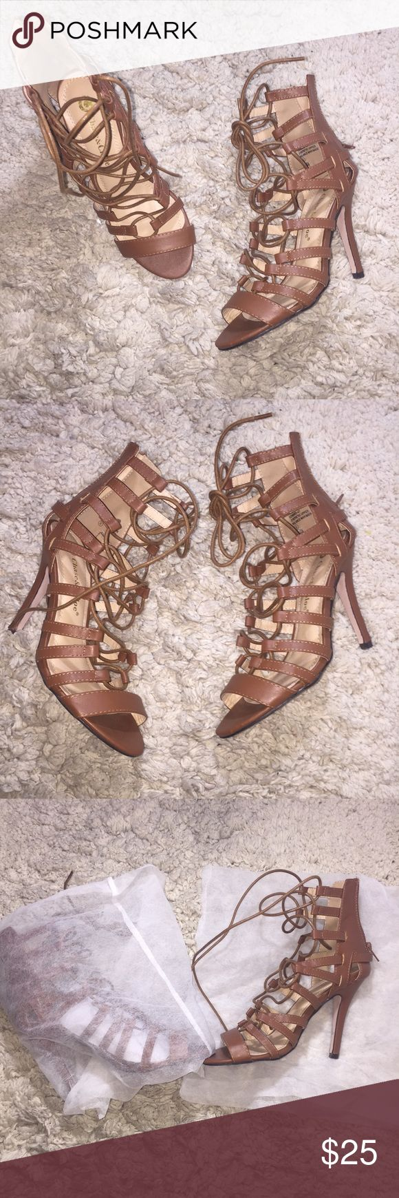 Chase & Chloe High Heel Sandal Tan High Heel Gladiator Sandal. Worn ONCE. I don't have the box they came in but I keep them on the white small bag showed in picture. •Comfortable •True to size chase & chloe Shoes Heels