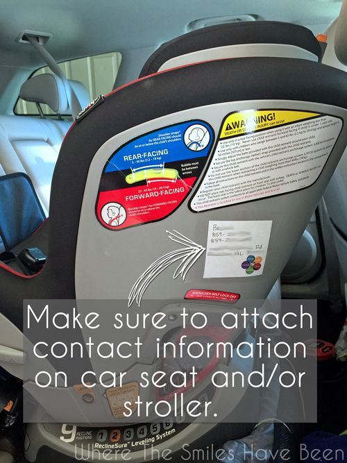 The MOTHERLOAD of Tips for Flying with a Toddler.  Here's a GREAT idea....attach contact details to your car seat or stroller in case they get lost!