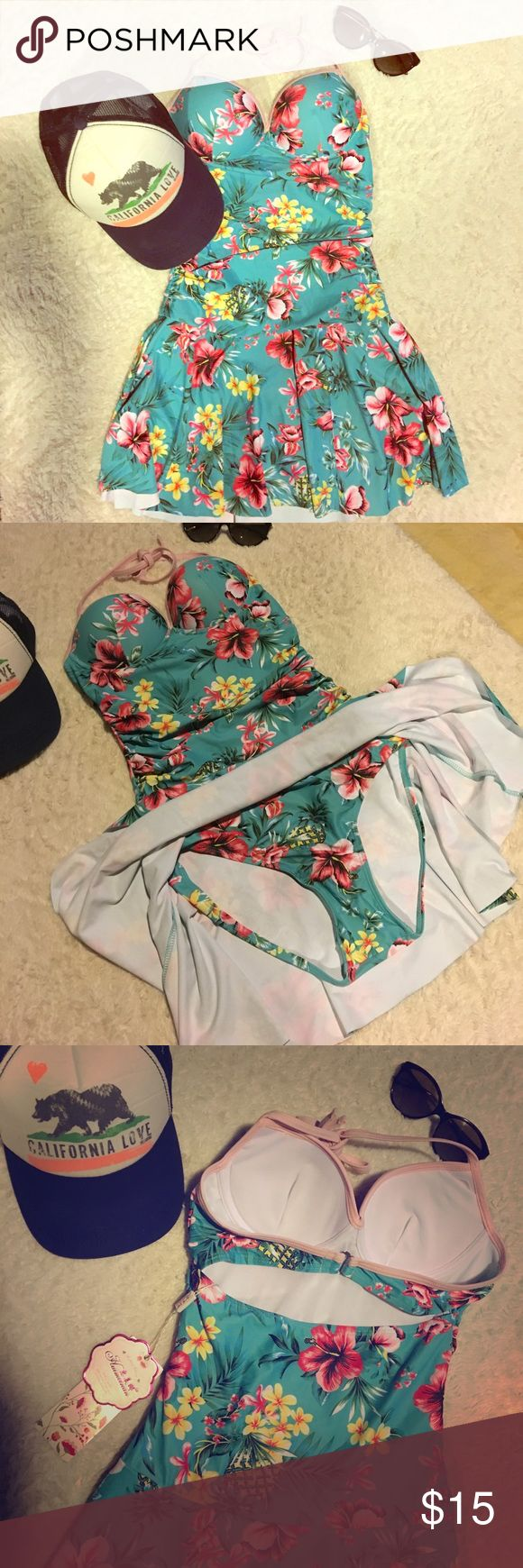 NWT floral one prince swim suit with skirt ☀️ Turquoise, pink and yellow. This suit flatters the bust and has a flirtatious skirt. It is brand new, never worn, in perfect condition. Swim One Pieces