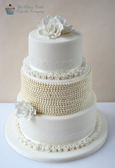 Vintage Lace & Pearl Wedding Cake ~ Gorgeous....