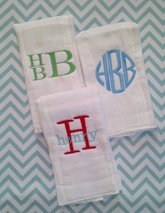 Monogrammed Burp Cloth Trio Boy by SouthernHandsLLC on Etsy, $18.00