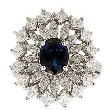 Blue American Diamond Studded Ring Online Shopping: JWR3309
