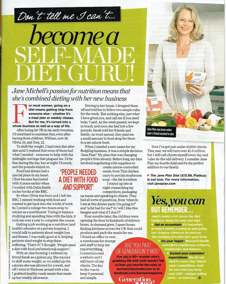 Jane in Women magazine talking about the Plan!