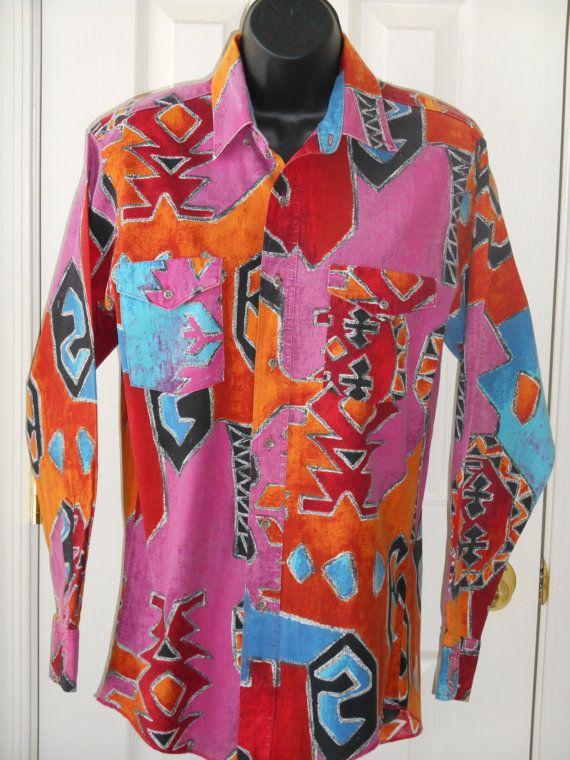 Wrangler shirt, multi color, vintage, by JuniperLaneAZ, on Etsy, $18.00