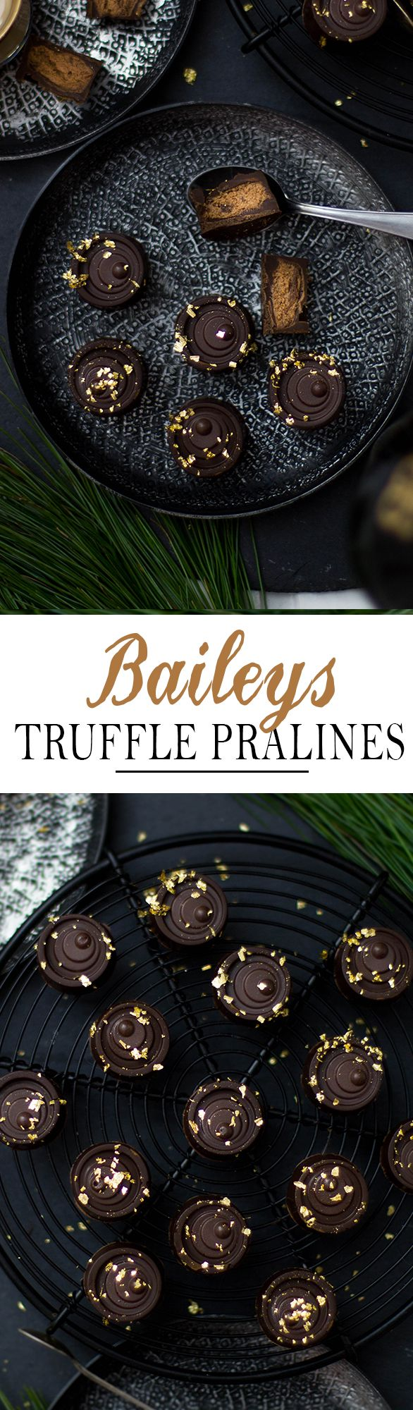Baileys Truffle Pralines with semi sweet chocolate and gold. Perfect gift for christmas | Baileys Trüffel Pralinen mit Zartbitterschokolade und Blattgold. Perfektes Geschenk aus der Küche zu Weihnachten