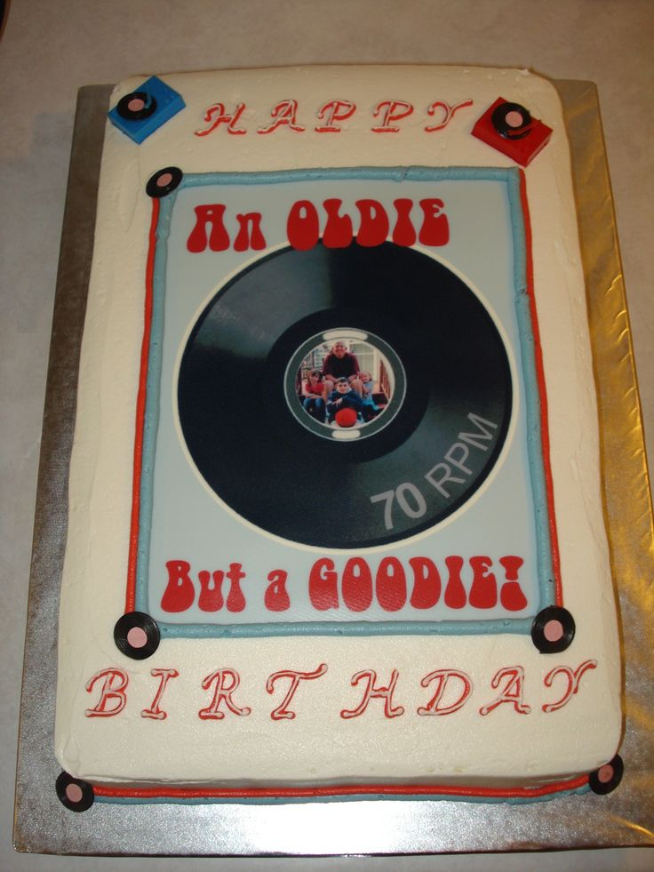 70th Birthday cake with edible image and record player decorations