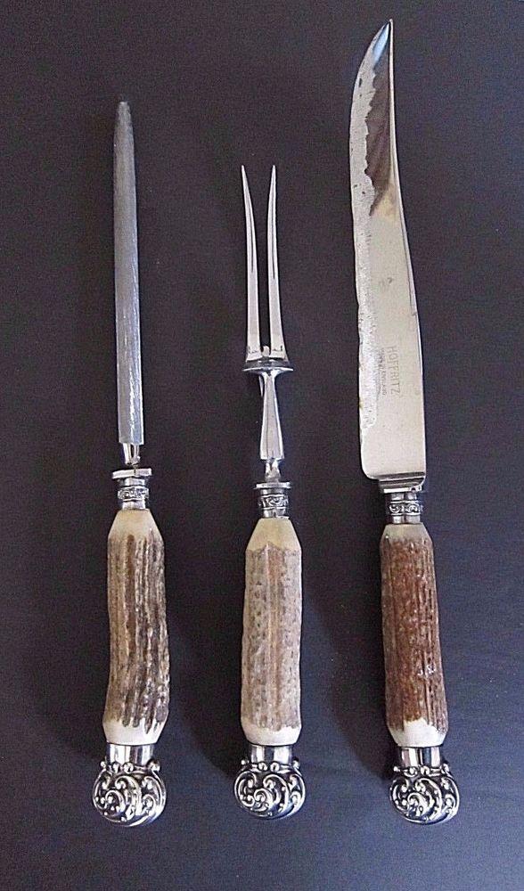 VTG 3 PC Bone Antler Carving Set~Hoffritz Sheffield England~Silver End Caps  | eBay