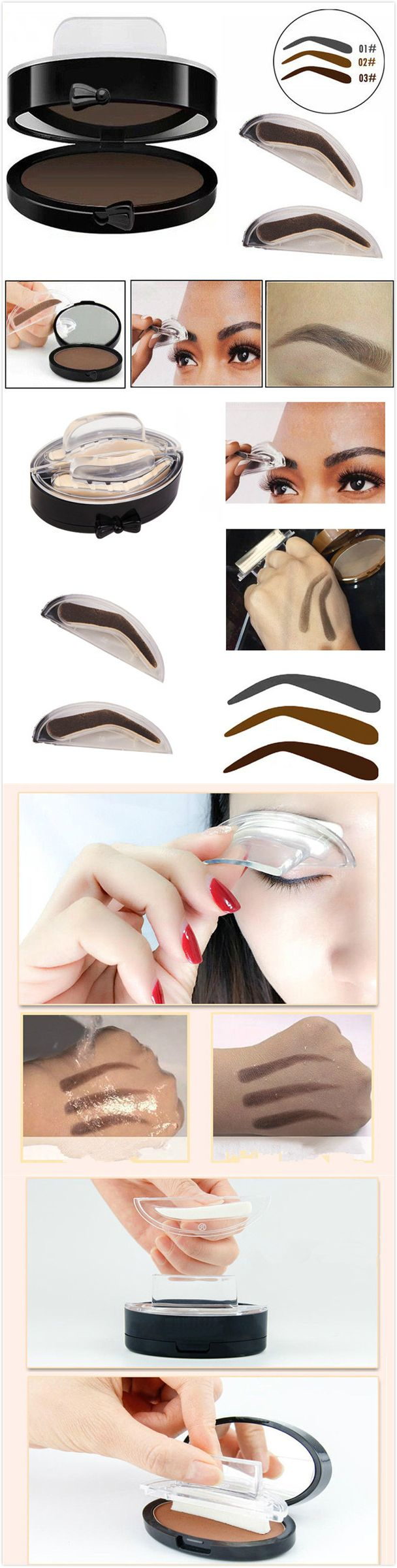 【$ 6.59】 Eyebrow Stamps Kit Pigments Black Brown Brows Mineral Powder Palette Eyebrows Makeup 3 Colors