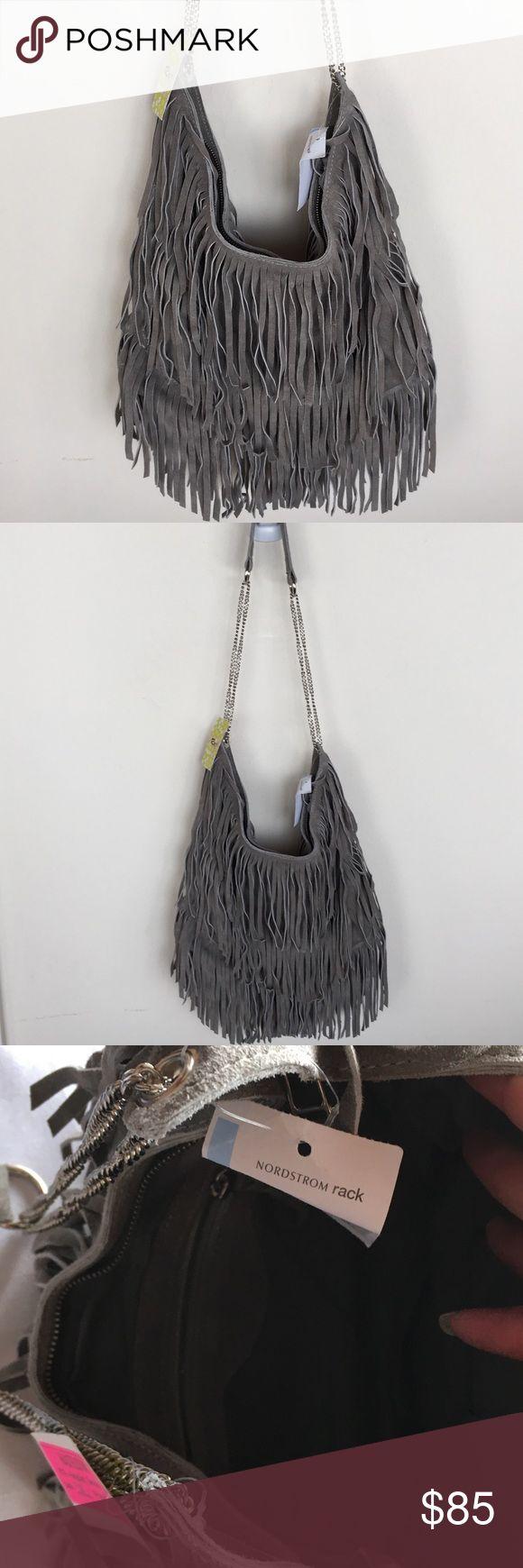 Raj Grey Fringe Bag New with tags, Raj grey fringe suede bag. raj Bags