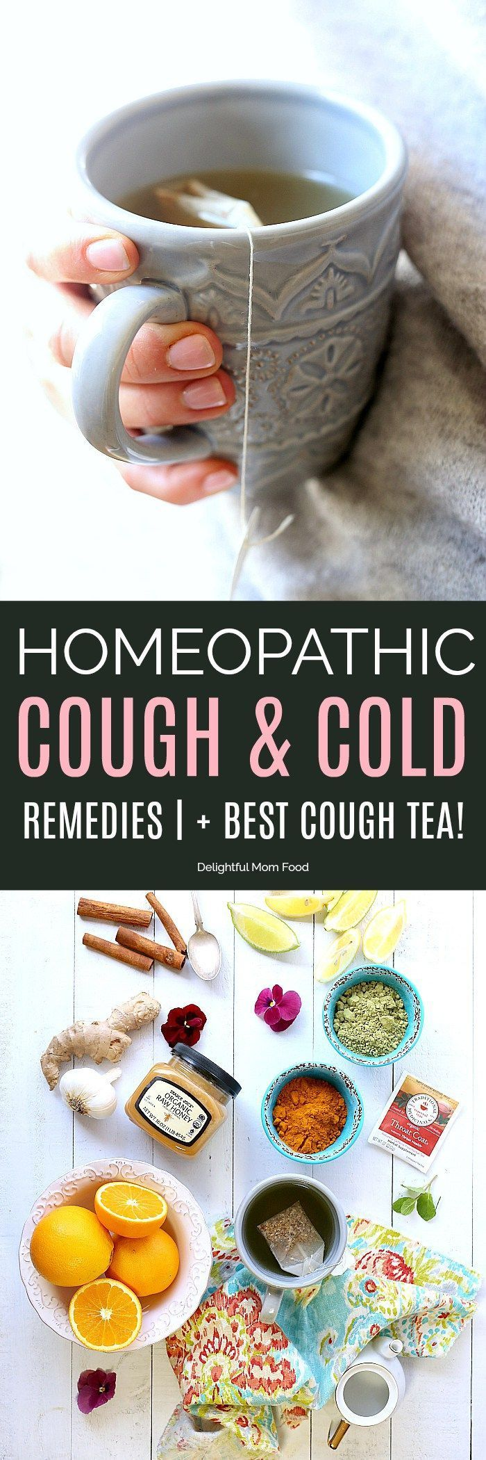 Natural remedies for cough, cold and flu symptoms to help heal your body quickly, boost immunity plus grandma's best tea recipe to fight a naughty cough that doesn't seem to go away!#homeopathic #remedies #healing #cough #cold #flu #home #natural #tea | Delightfulmomfood.comDelightful Mom Food