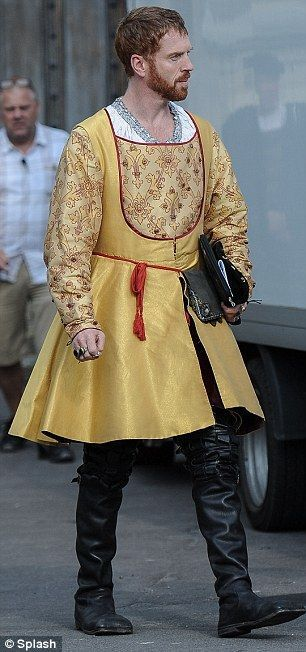 Damian Lewis sports Tudor costume as King Henry VII for BBC drama Wolf Hall.